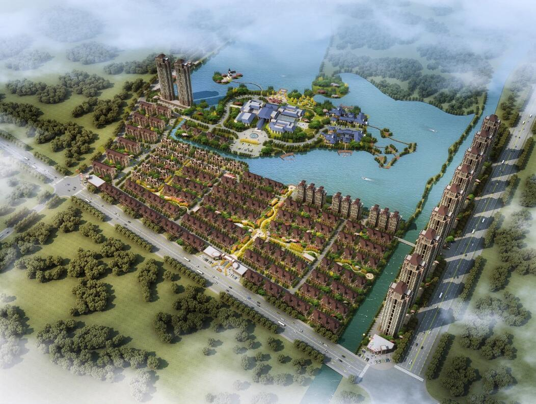 中建二局上海分中标7.68亿砀山东湖湾综合体项目别墅温州屋排图片